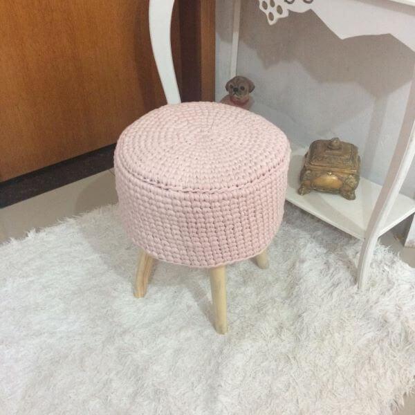 Pink crochet pouf