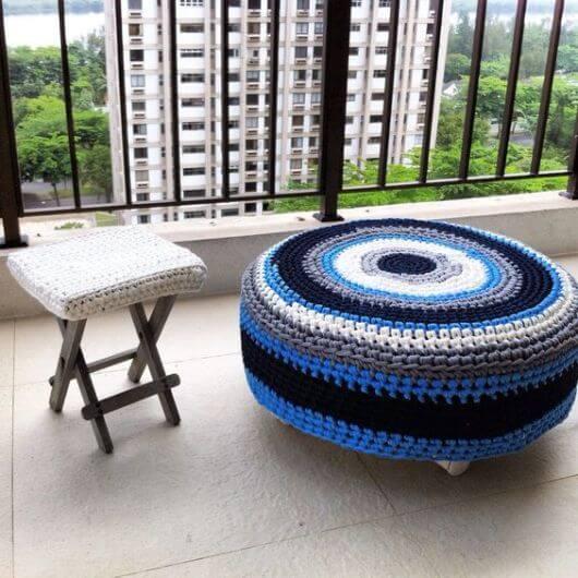 Crochet pouf for home balcony