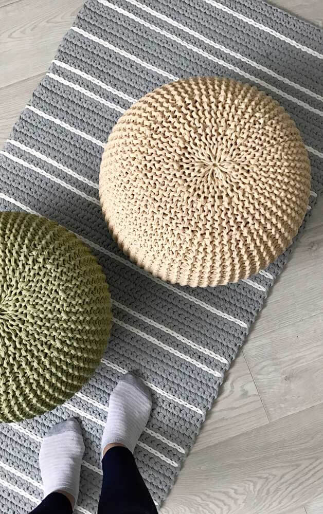 Round crochet pouf