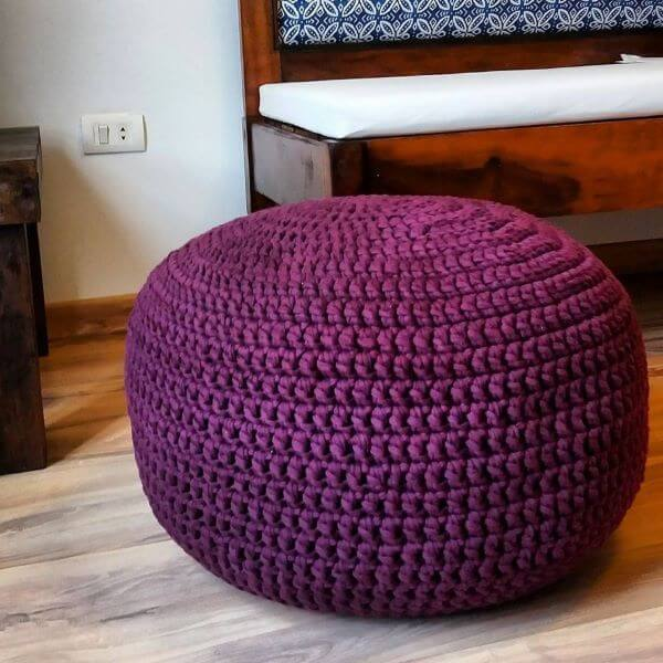 Purple crochet pouf for living room