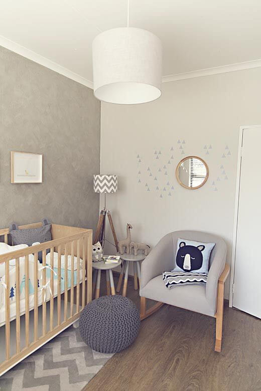 baby room with crochet puff