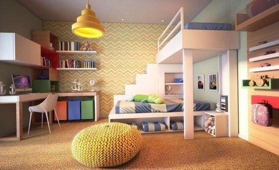 Boy's room decor with crochet puff