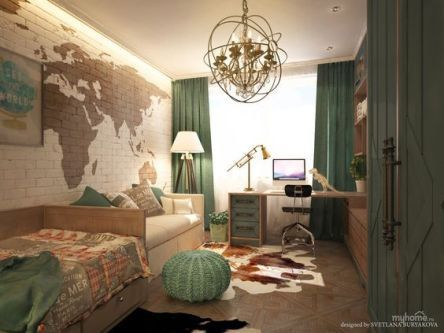crochet puff in modern bedroom