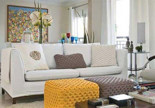 Yellow and gray crochet pouf