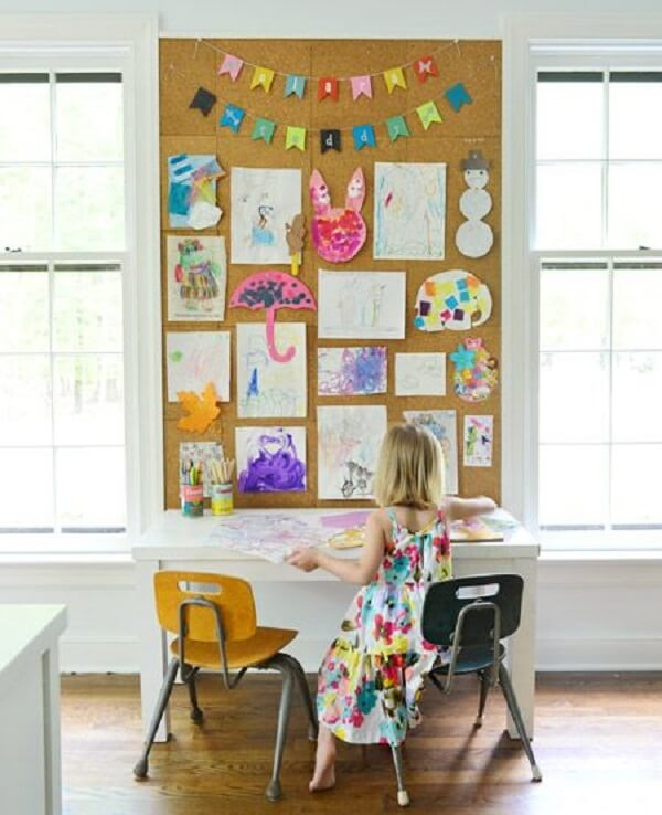 The large cork board can be used in the children's room