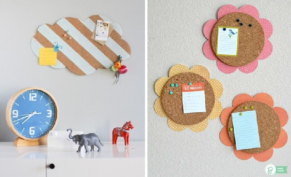 Cork board with fun design enchants the decor