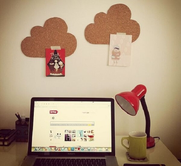 Environment decorated with cloud-shaped corkboard