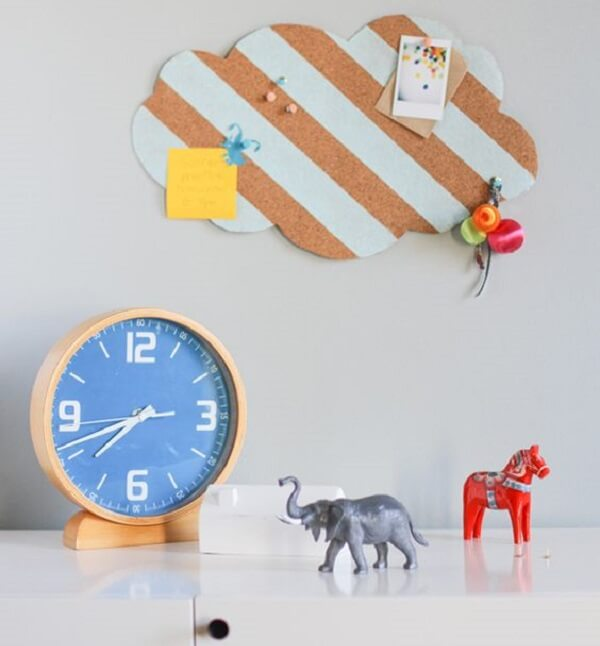 Fun room with cloud-shaped corkboard