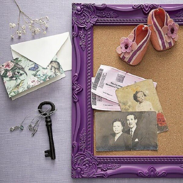 Corkboard with retro purple frame