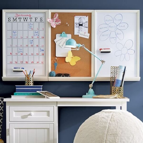 Environment with white desk and corkboard