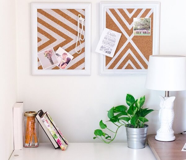 Environment with cork board for fixing photos and decorative items