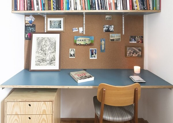 Study bench with large corkboard