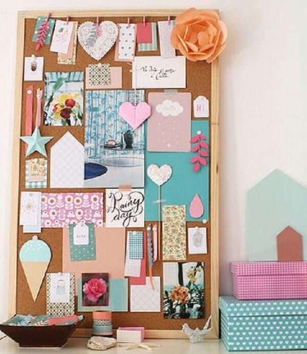 Cork board with romantic and delicate decoration