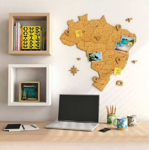Frame made of cork in the shape of the map of Brazil