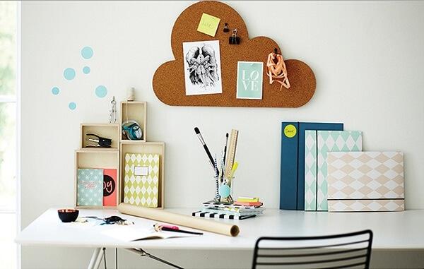 Creative corkboard with cloud design