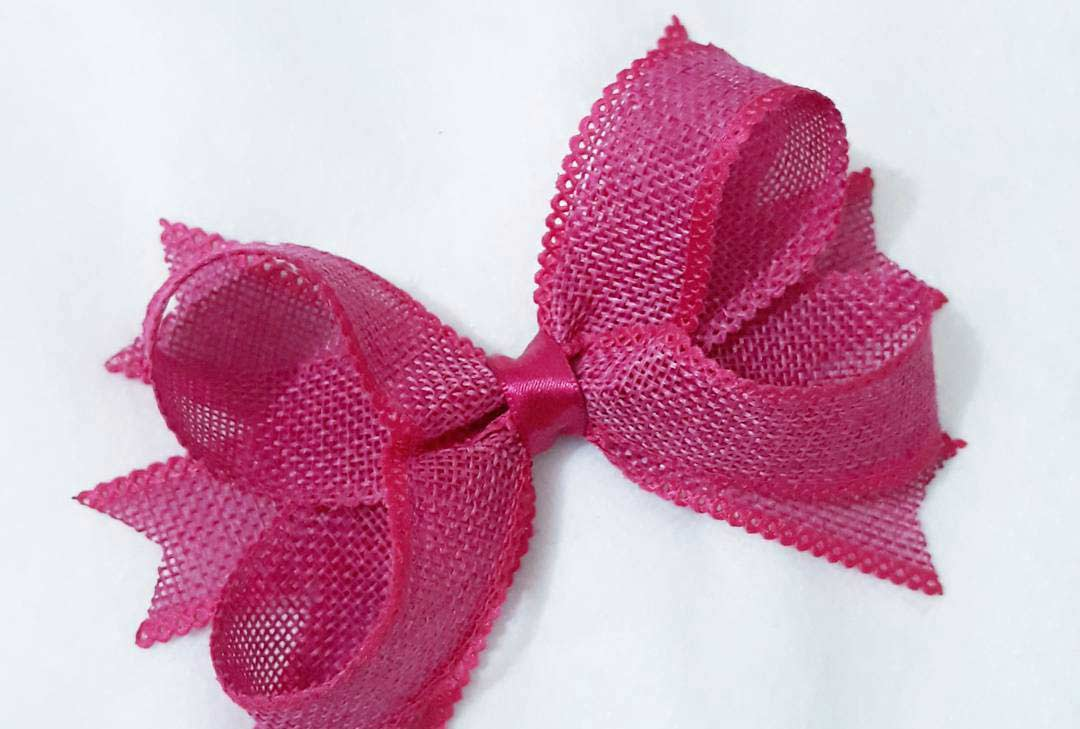 how to make ribbon bow - pink jute ribbon bow