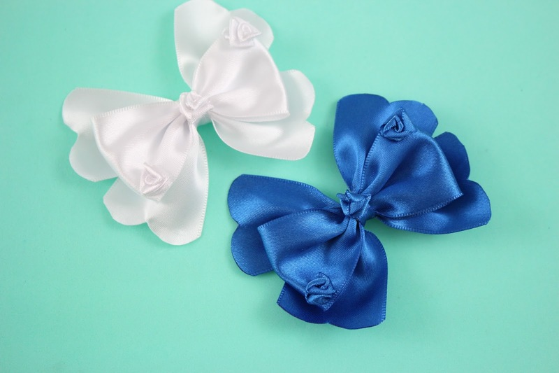 how to make ribbon bow - satin and white ribbon bows