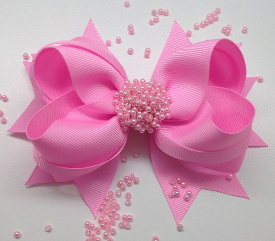 how to make ribbon bow - pink ribbon bow with beads