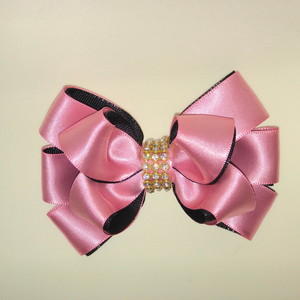 how to make ribbon bow - double thread bow with pink beads