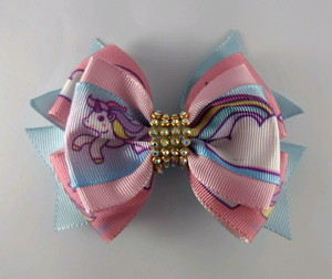 how to make ribbon bow - double satin ribbon bow with unicorn