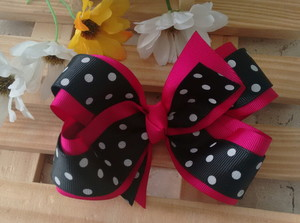 how to make ribbon bow - double pink and black ribbon bow with white polka dots