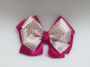 how to make ribbon bow - pink and white double ribbon bow with black polka dots