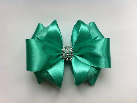 how to make ribbon bow - turquoise double ribbon bow