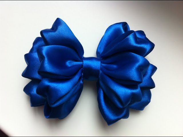 how to make ribbon bow - cobalt blue triple ribbon bow