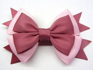how to make ribbon bow - cloth bow with red and pink ribbon