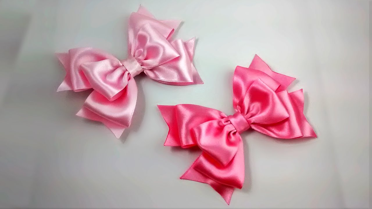 how to make ribbon bow - triple pink ribbon bows