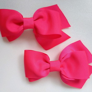 how to make ribbon bow - double pink fabric bows
