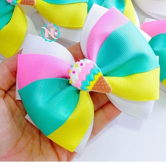 how to make ribbon bow - colorful bow with ice cream