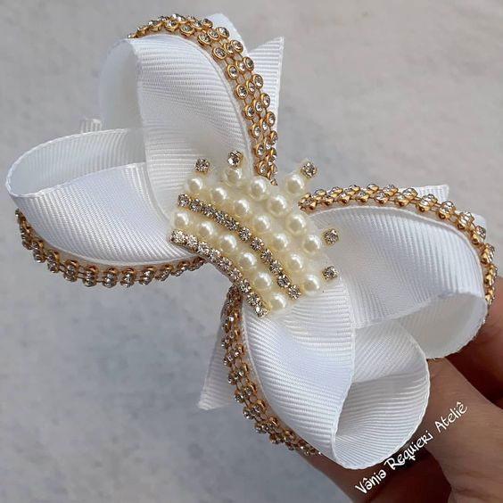 how to make ribbon bow - bow with beads