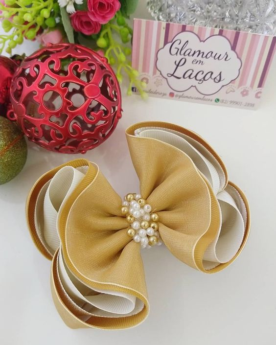 how to make ribbon bow - ribbon bow with beads