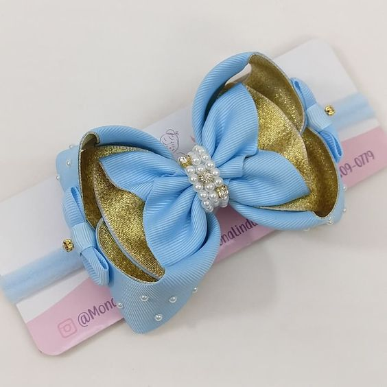 how to make ribbon bow - blue and gold bow