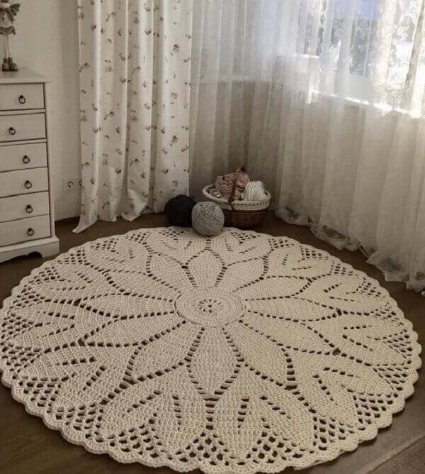 Large round crochet rug in white