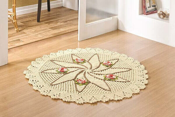 Round crochet rug for the entrance door