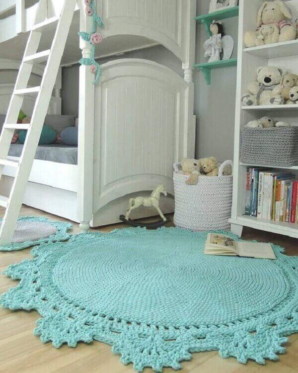 Blue round crochet rug