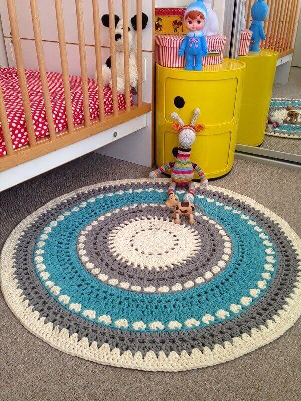 Round crochet rug in children's room