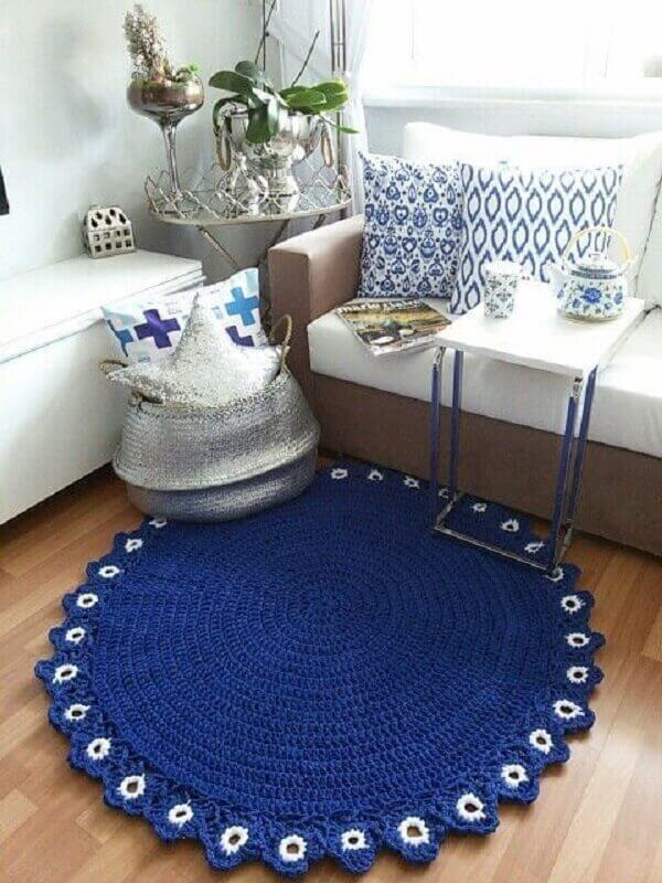 Round crochet rug in dark blue color