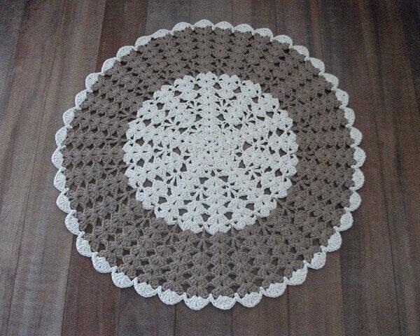 Round crochet rug in gray
