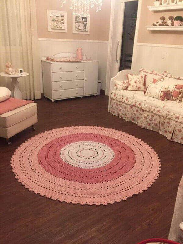 Pink round crochet rug