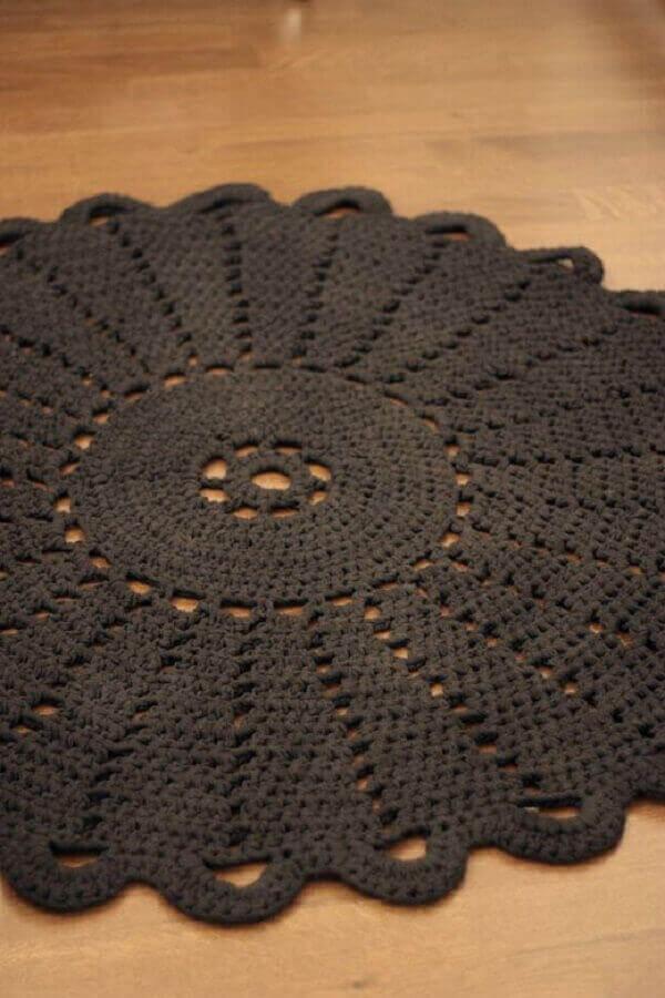 Black round crochet rug