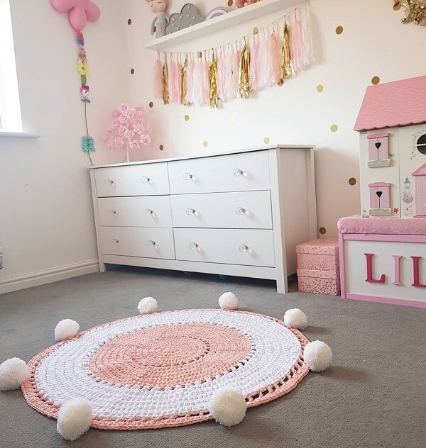 Crochet rug with pompom and cuteness for sure