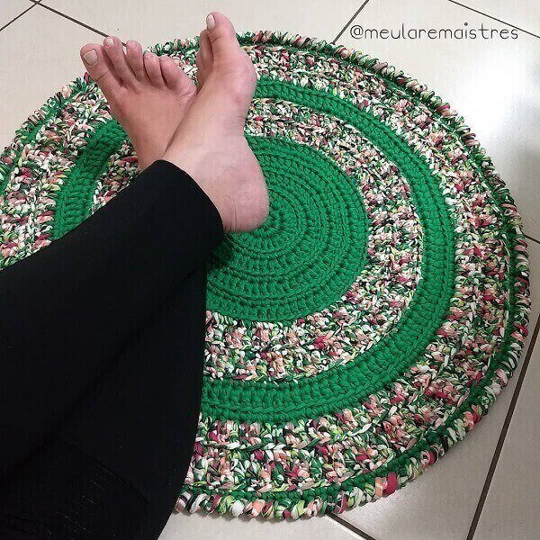 Bring color to your environment including a crochet rug with bright colors