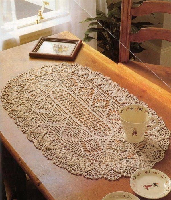 beige crochet table runner