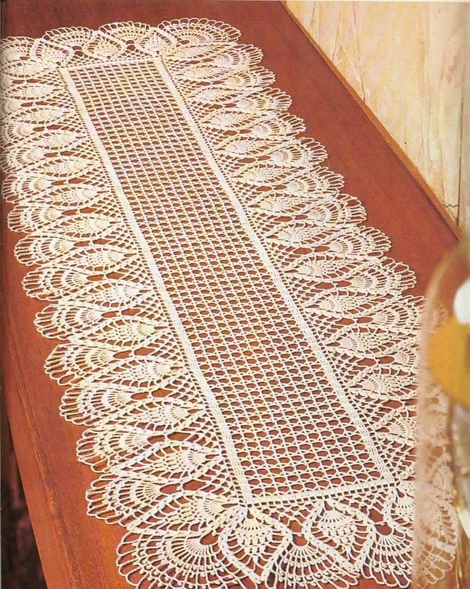 long white crochet table runner