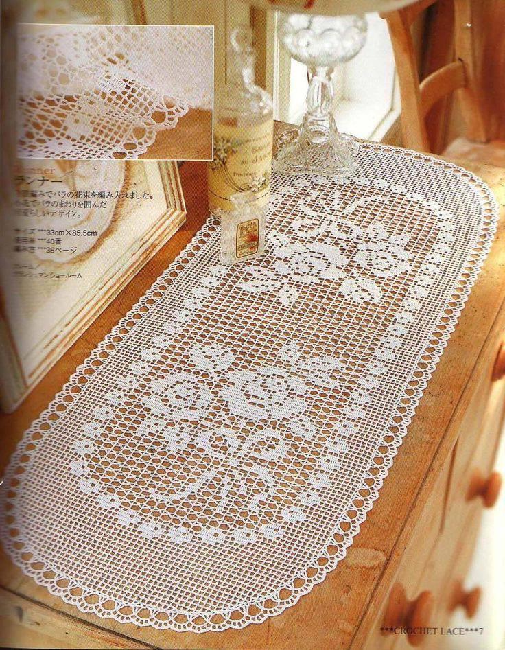 ace67 white crochet table runner
