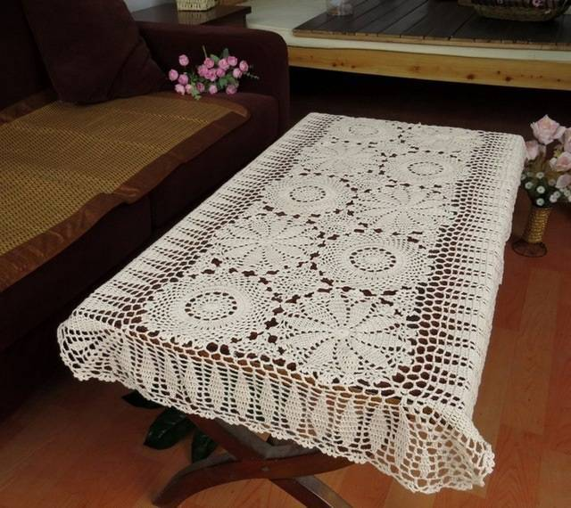 crochet table runner coffee table