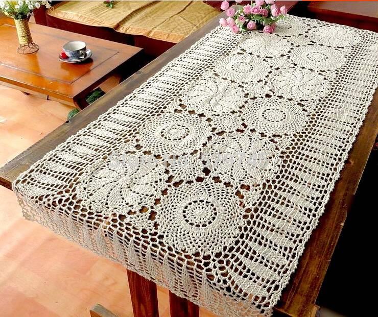 white rectangular crochet table runner